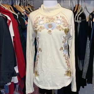 Free People Shirt Embroidered Size Medium